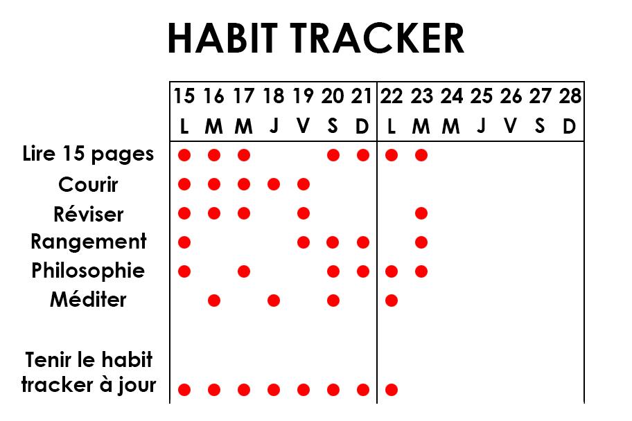 Habit tracker organisation